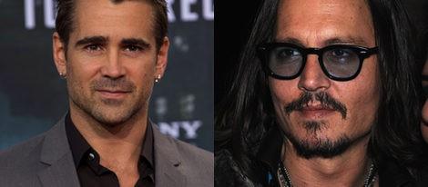 Colin Farrell con barba sombreada y Johnny Depp con su peculiar perilla