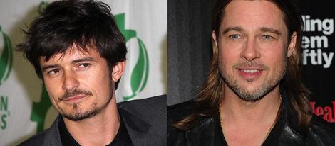 Los actores Orlando Bloom y Brad Pitt, ejemplos de rostro cuadrado y triangular