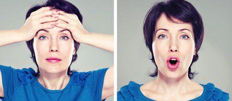 Ejercicios faciales de frente y boca
