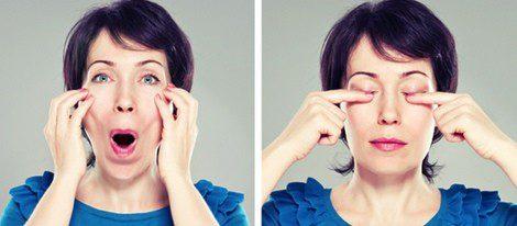 Ejercicios faciales de mejillas y ojos