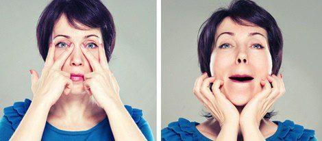 Ejercicios faciales de cuello y ojos