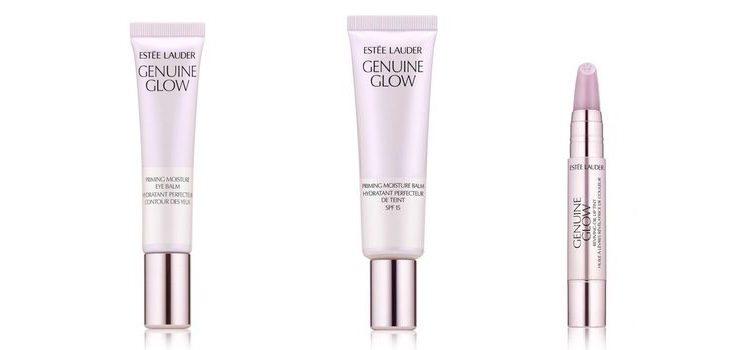 De izq a dch: 'Genuine Glow Base Hidratante de Contorno de Ojos', 'Genuine Glow Primer Hidratante en Bálsamo con SPF 15' y 'Genuine Glow Aceite de Labios Color Revitalizante'