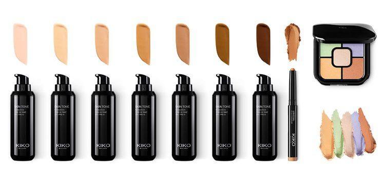 De izq a dch: 'Skin Tone Foundation', 'Universal Stick Concealer' y 'Colour Correct Concealer Palette'