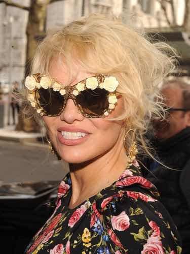 Pamela Anderson en la semana de la moda de Milán