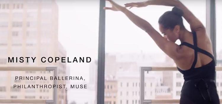 Fotografía promocional de la campaña de Misty Copeland para Estée Lauder