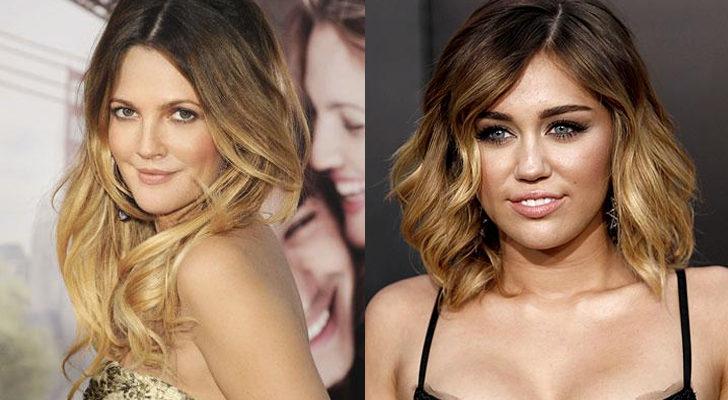 Drew Barrymore (izquierda) y Miley Cyrus (derecha)
