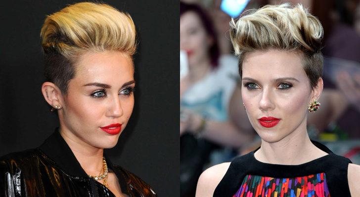 Miley Cyrus (izquierda) y Scarlett Johansson (derecha)