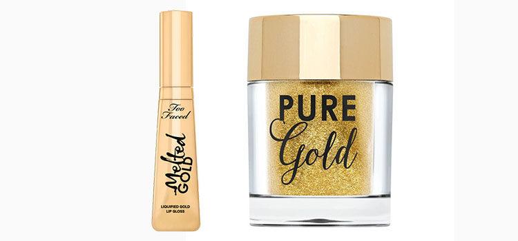 Pintalabios y polvos dorados de la nueva colección 'Gold' de Too Faced
