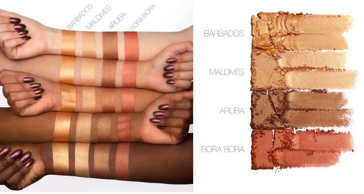 Los cuatro tonos de 'Bronze Sands 3D Highlighter Palette'