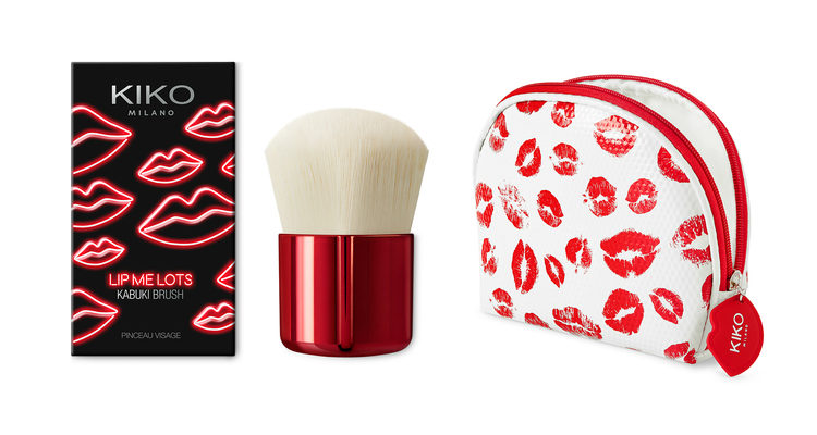 La brocha 'Lip Me Lots Kabuki Brush' y el neceser 'Lip Me Lots Pochette' de Kiko