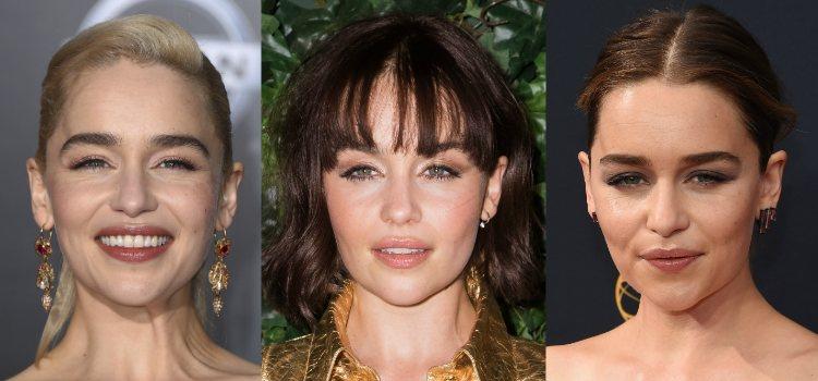Para darle forma al rostro Emilia Clarke se sirve del colorete