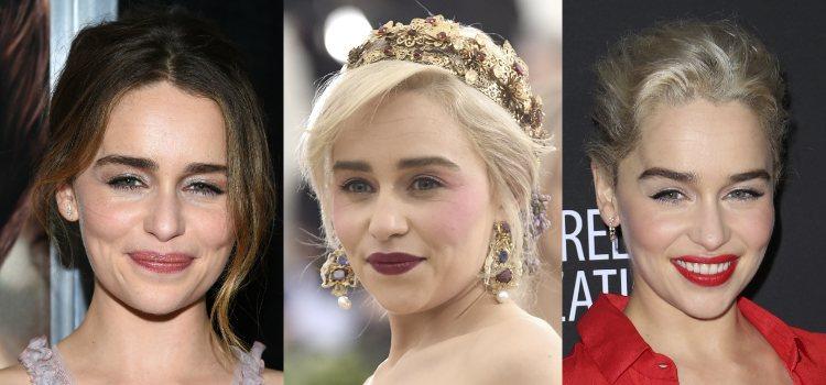 Gracias a que Emilia Clarke apuesta por looks sencillos puede ir variando el tono del labial según el día