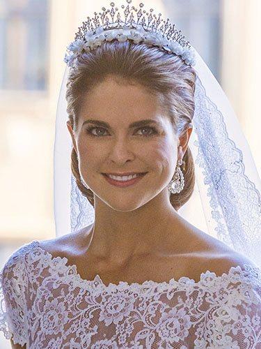 Magdalena de Suecia, en el día de su boda con un recogido