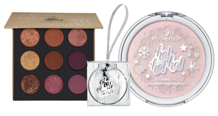 La paleta de sombras, el bálsamo labial y el iluminador de la colección navideña de Essence