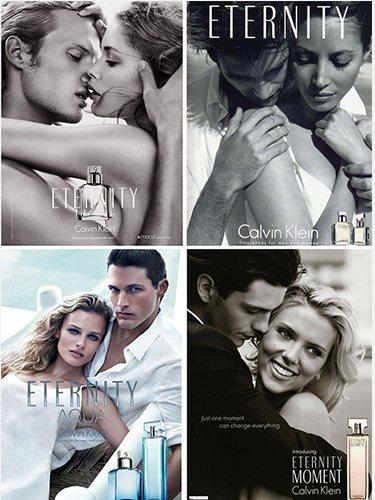 Anteriores ediciones de la línea perfumística 'Eternity', de Calvin Klein