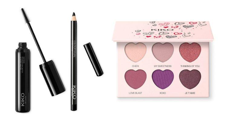 El lápiz, la máscara y la paleta de sombras de ojos de la colección 'Sweetheart' de Kiko