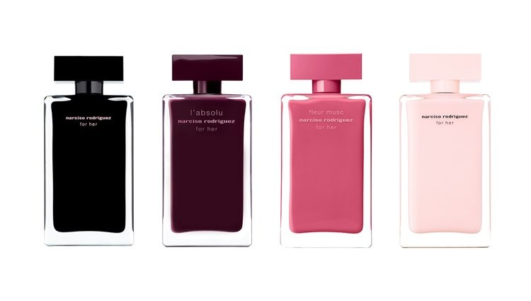 Perfumes 'Narciso Rodriguez For Her Eau de Toillet', 'Narciso Rodriguez For Her L'Absolu', 'Narciso Rodriguez Fleur Musc For Her' y 'Narciso Rodriguez For Her Eau de Parfum' de Narciso Rodriguez