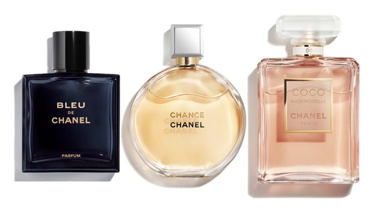 Perfumes Bleu, Chance y Coco Madmoisel de Chanel