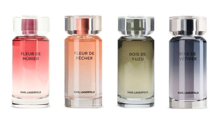 Perfumes Fleur de Mûrier, Fleur de Pércher, Bois de Yuzu y Bois de Vetiver de Karl Lagerfeld