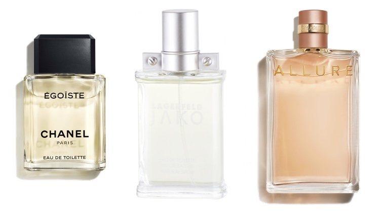 Perfumes Égoiste (Chanel), Jako (Karl Lagerfeld) y Allure (Chanel)