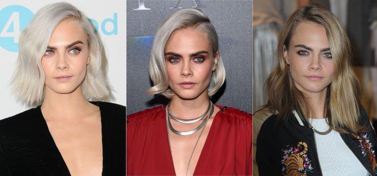 Varios peinados de la modelo Cara Delevingne con raya lateral