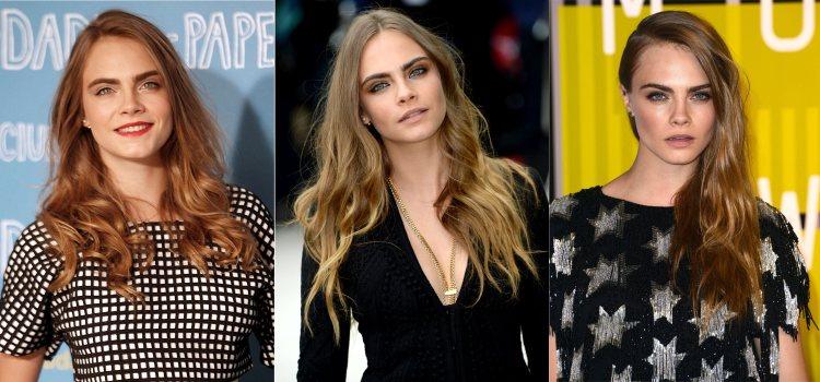 Varios peinados de la modelo Cara Delevingne con el pelo largo