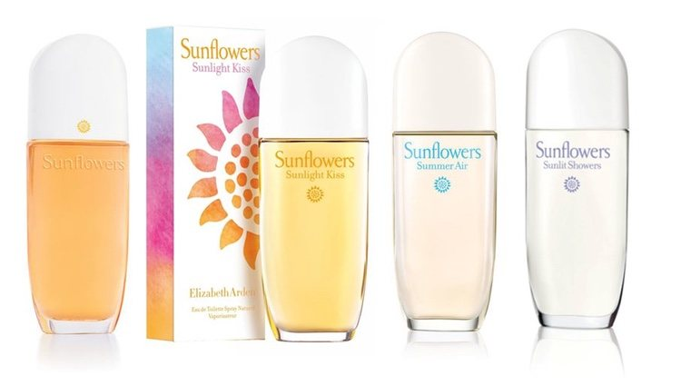Perfumes 'Sunflowers', 'Sunflowers Sunlight Kiss', 'Sunflowers Summer Air' y 'Sunflowers Sunlit Showers' de  Elizabeth Arden