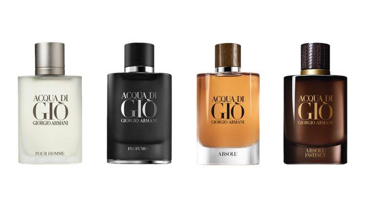 Perfumes Aqua Di Giò, Aqua Di Giò Profumo, Aqua Di Giò Absolu y Aqua Di Giò Absolu Instinct de Giorgio Armani