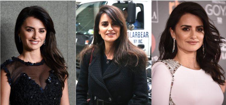 Varios peinados de la actriz Penélope Cruz con la raya lateral