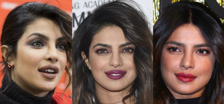 Cuando Chopra da un toque de color a sus ojos, combina el look con el colorete