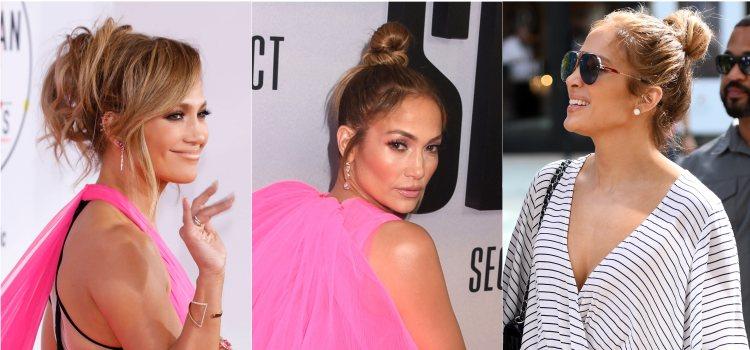 Varios looks de la cantante Jennifer Lopez con moño