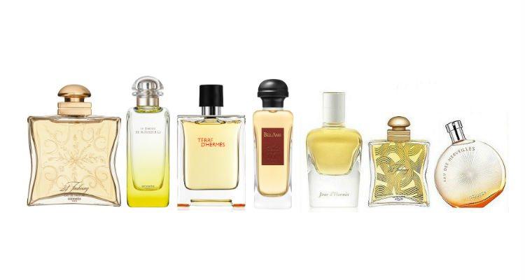 Algunas fragancias de las distintas colecciones de perfumes de Hermès
