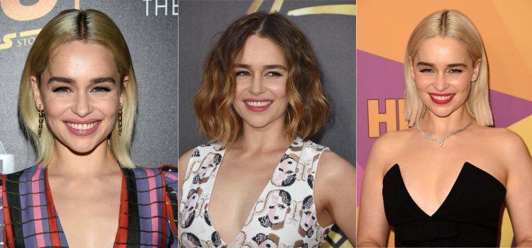 Varios looks de la actriz Emilia Clarke con melena midi