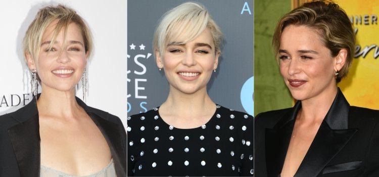 Varios looks de Emilia Clarke con pixie short