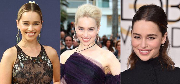 Varios looks de la actriz Emilia Clarke con recogidos