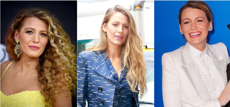 Varios looks de la actriz Blake Lively con raya lateral