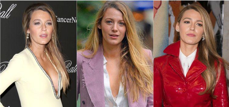 Varios looks de la actriz Blake Lively con el pelo liso