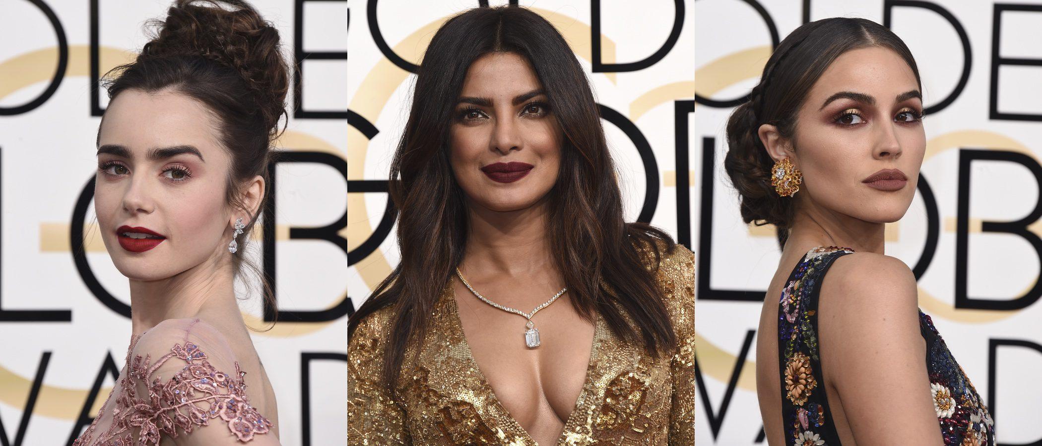 Lily Collins, Priyanka Chopra y Olivia Culpo lucen los mejores beauty looks de los Globos de Oro 2017