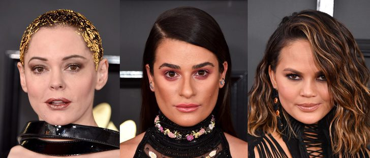 Rose McGowan, Lea Michele y Chrissy Teigen, entre los peores beauty looks de los Grammy 2017