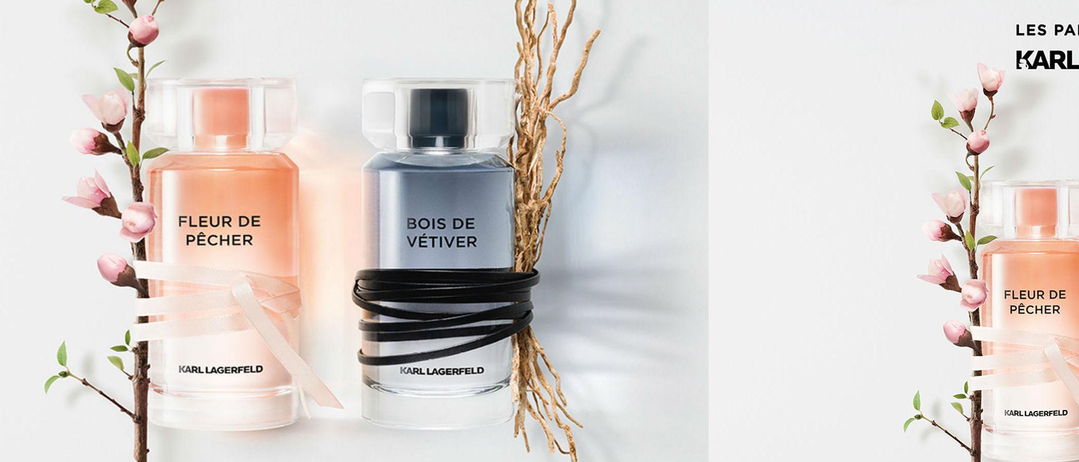 'Karl Lagerfeld Parfums' y su nuevo dúo de perfumes: 'Fleur de Pêcher' para ella y 'Bois de Vétiver' para él