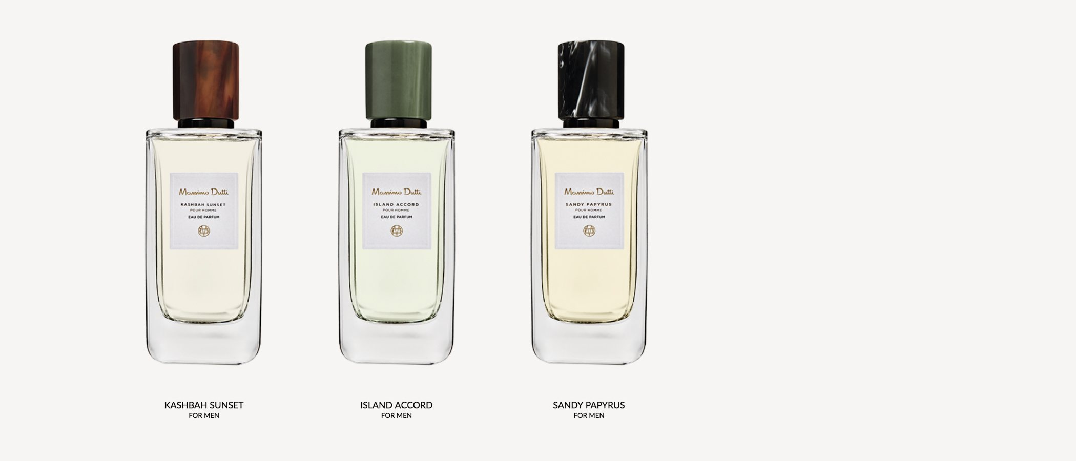 'Sandy Papyrus', 'Island Accord' y 'Kashbah Sunset', las nuevas fragancias masculinas de Massimo Dutti