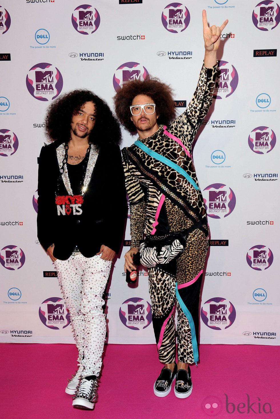LMFAO en los MTV Europe Music Awards 2011 con sus melenas cardadas