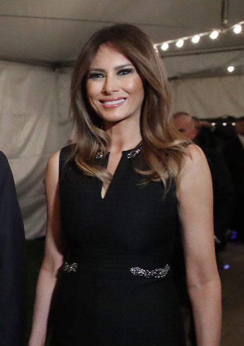 Melania Trump con su beauty look habitual en la misa de Nochebuena