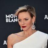 La princesa Charlene de Mónaco con los labios rojos en photocall de los Premios Laureus 2018