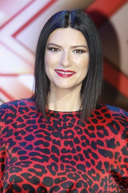 Laura Pausini con un pintalabios rojo en la presentación de 'Factor X' 2018