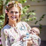 La princesa Magdalena de Suecia, en el bautizo de su hija Adrienne de Suecia