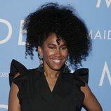Moana Luu con una coleta afro en la premiere de 'Maiden', en Nueva York