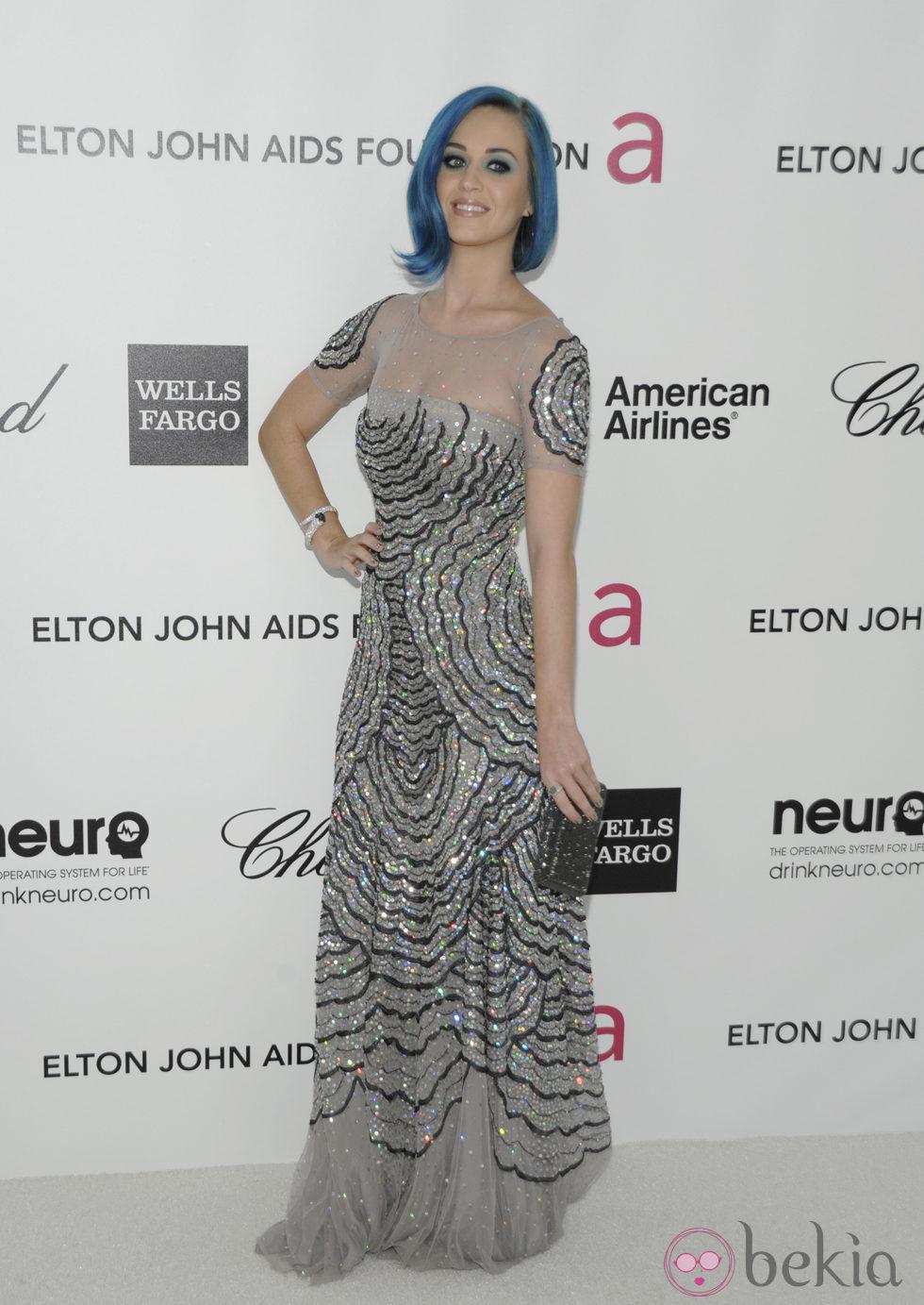Katy Perry luce su melena azul en la fiesta de Elton John tras los Oscar 2012