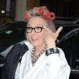 Diane Keaton con rulos en la cabeza