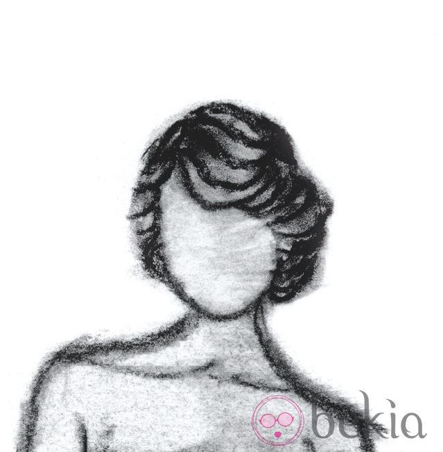 Boceto de un recogido bajo natural, uno de los peinados de los Goya 2013